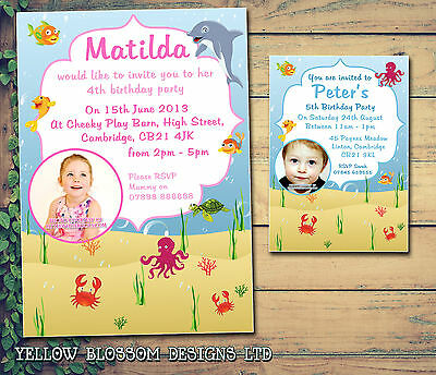 10 Personalised Birthday Party Invitations Thank You Cards Under The Sea Dolphin
