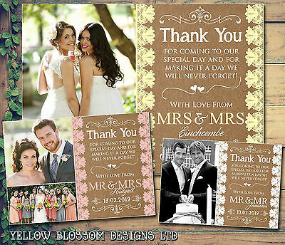 10 Personalised Wedding Thank You Cards Folded Postcards Rustic Lace Vintage