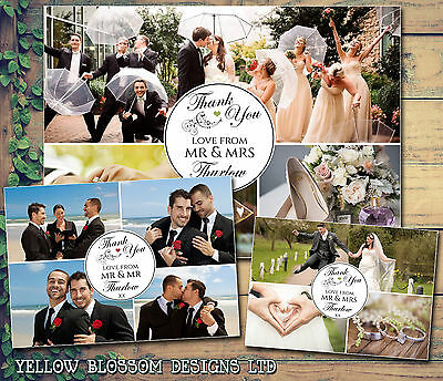 10 Personalised Wedding Thank You Cards Folded Postcards Photo Montage Printed