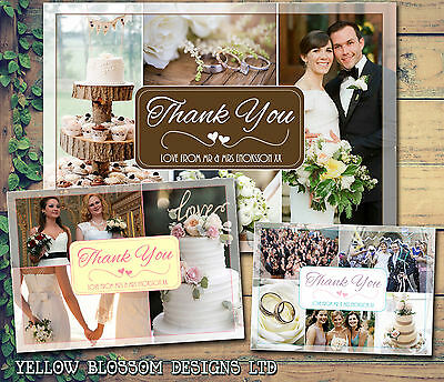 10 Wedding Personalised Thank You Cards Photos Montage Folded Postcards Notes