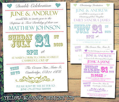 10 Personalised Christening Naming Day Baptism Invites Hearts Poster Festival