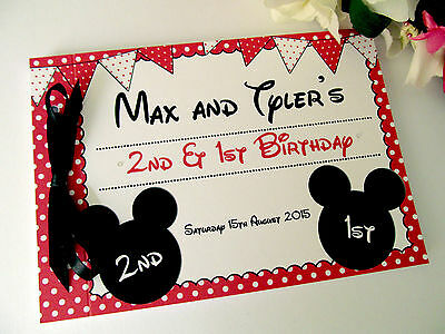 Personalised Guest Book Autograph Photo Minnie Mickey Bunting Polka Dot Birthday
