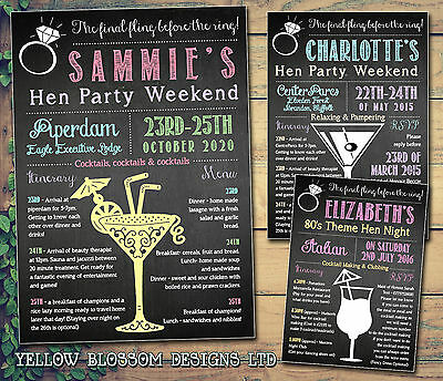 10 Hen Itinerary Weekend Cards Invitations Party Night Cocktails Chalkboard