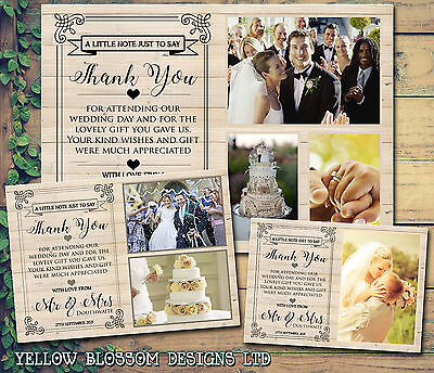 10 Folded Postcards Wooden Rustic Photos Personalised Wedding Thank You Cards