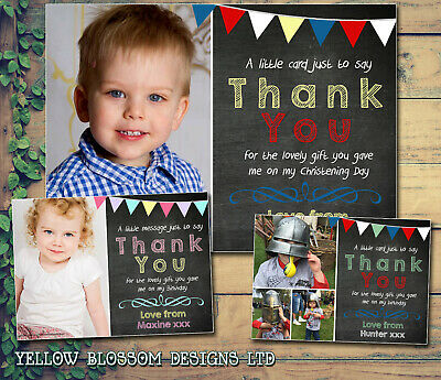 10 Kids Chalkboard Bunting Personalised Thank You Cards Birthday Christening