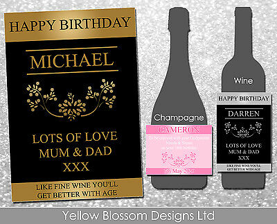 Personalised Happy Birthday Godparent Wine Champagne Label Gold Silver Pink Blue