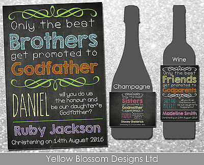 Personalised Wine Champagne Label Godmother Godfather Christening Mum Dad Friend