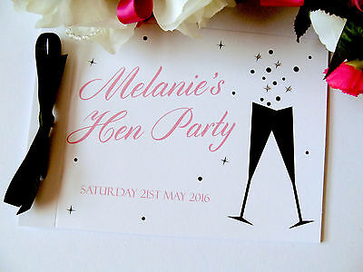 Personalised Guest Book Hen Night Birthday Wedding Champagne Glasses Bubbles