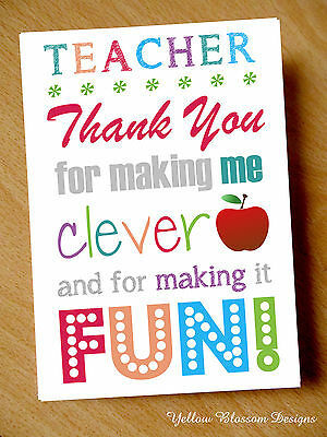 Teacher Thank You Card Gift Make Learning Kids Leaving School Assistant Nursery