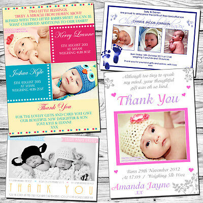10 New Born Boy Girl Twins Personalised Thank You Baby Birth Announcement Cards