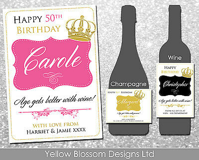Personalised Happy Birthday Wine Champagne Prosecco Label Crown Royal Male Lady