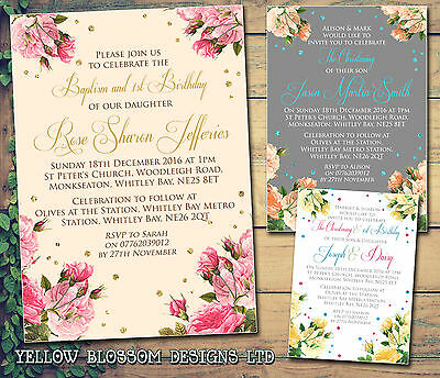 10 Personalised Christening Naming Day Baptism Invitations Vintage Flowers Joint