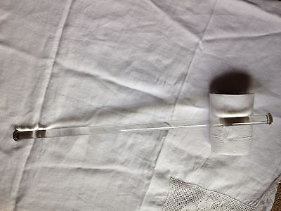 Antique clear glass towel rod in good condition.  One chip on knob end. 17 3/4""