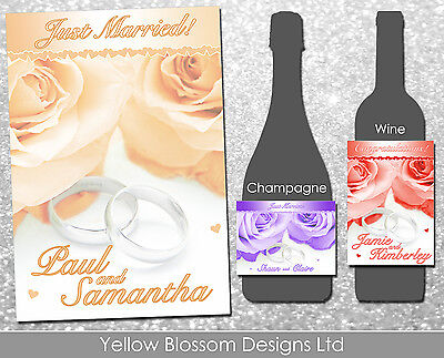 Personalised Wine Champagne Bottle Label Thank You Wedding Day Rings Roses Gift