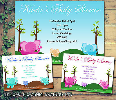 10 Elephants Jungle Zoo Unisex Twins Personalised Baby Shower Party Invitations