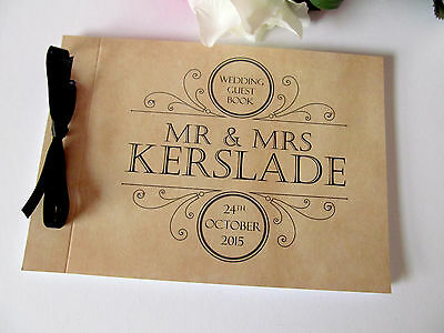 Personalised Wedding Day Guest Book Memory Photo Shabby Chic Vintagte Kraft Back