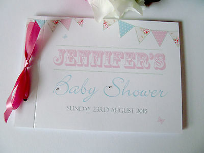 Personalised Baby Shower Guest Book Photo Album Memory Book Bunting Butterfly