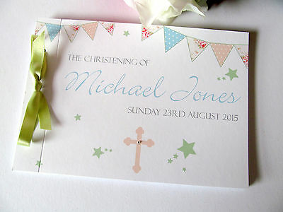 Personalised Guest Book Auto Naming Day Baptism Christening Cross Stars Bunting