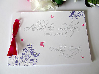 Personalised Guest Autograph Book Butterfly Wedding Engagement Birthday Shower