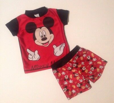 Baby Boys 18-24 Months Disney Mickey Mouse Wetsuit Top + 2-3 Years Shorts Outfit