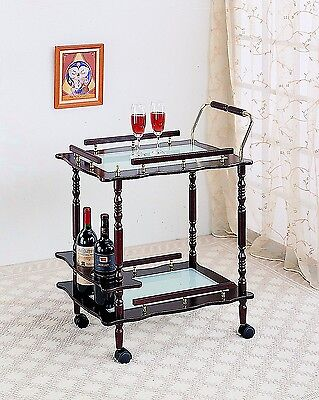 Traditional Formal Serving Cart Lower Wine Rack Two Tier 4 Casters Brass Accents