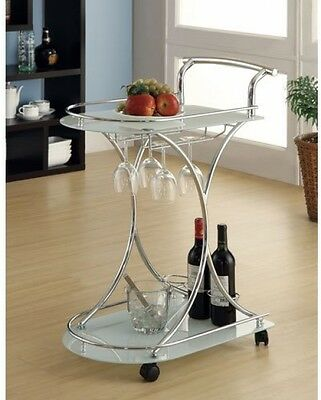 Serving Cart w/ Two Frosted Tempered Glass Shelves Chrome Finish w/ Bottle Rack
