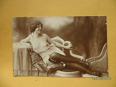Orig French 1910's-1920's Dated Message Postcard Nude Risque Sexy Stockings #98
