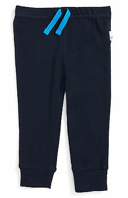 NWT Burt's Bees Baby Organic Cotton Midnight Blue Knit Jogging Pants, 0-3 Months