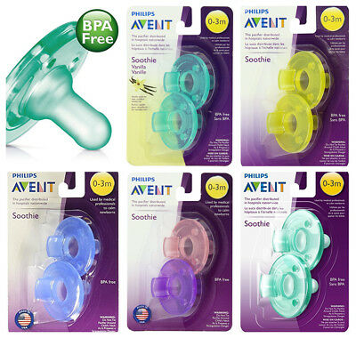 New Philips Avent Soothie Pacifier 0 - 3 Months 2 - 4 count BPA Free - Fast Ship