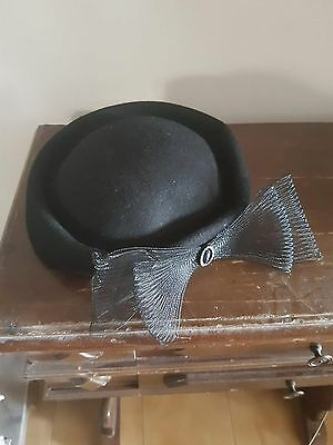 Cappello con fiocco anni 50 / 50 years old hat black with bow