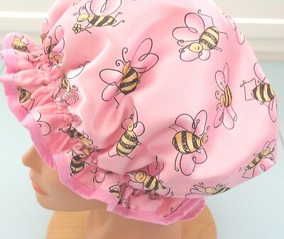 SHOWER CAP HAT   HANDMADE, WATERPROOF PINK Satin with the cutest bumbles bees