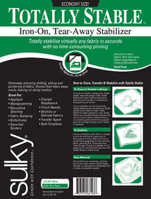 """Totally Stable Iron On Tear Away Stabilizer 20""""X3yd 661-03"""