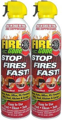 Fire Gone 2NBFG2704 White/Red Fire Suppressant Canisters 16 Ounce, (Pack of 2