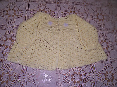 New Hand Crochet  Baby Jacket Yellow With Embellishment 12 -18 Months App