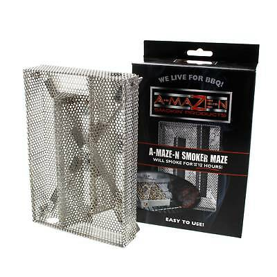 A-Maze-N Smoker Maze BBQ 5 x 8 Inch Hark Smokes For Up To 12 Hours Cooking Food