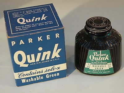 New/Vintage INK Parker QUINK -  2 oz Glass Bottle WASHABLE GREEN