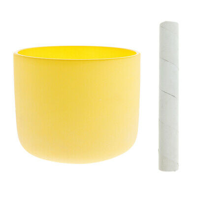 """Crystal Singing Bowl E Note for Solar Chakra 7"""" Yellow with Suede Striker"""