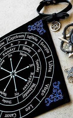 Pagan Wicca Astrology Embroidered Black Velvet Pendulum Mat Dowsing