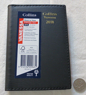 Diary 2018 Collins Vanessa B7R Pocket 80x125mm Week To View Stitched PVC BLACK