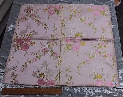 Antique French Lyon Silk Manufacturers Pink Rose Sample Fabric Jacquard c1840-60