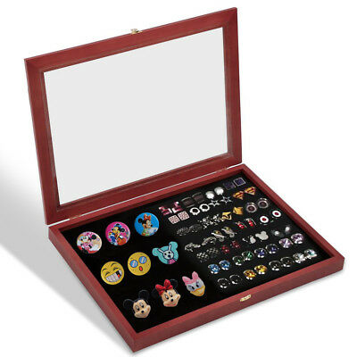 Lapel Pin Display Case Collector Pin Holder Cabinet Shadow Box Frame Wine Red