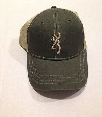 Browning Trouter Trucker Hat Cap Mesh Back Sage/Tan NWT