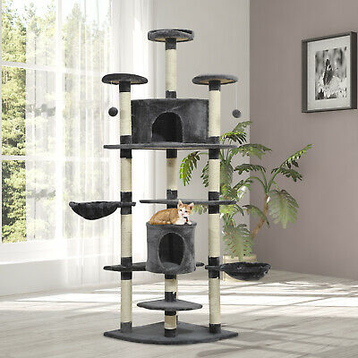 "79"" Cat Scratching Tree Kitten Condo Play House Multi-level Pet Furniture"