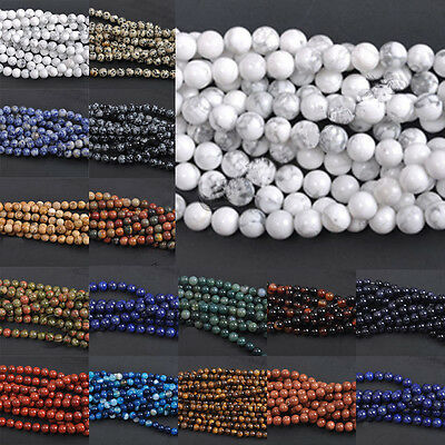 Lots 4/6/8/10/12mm Gemstone Bead Strand Round Spacer Loose DIY Jewelry Gifts