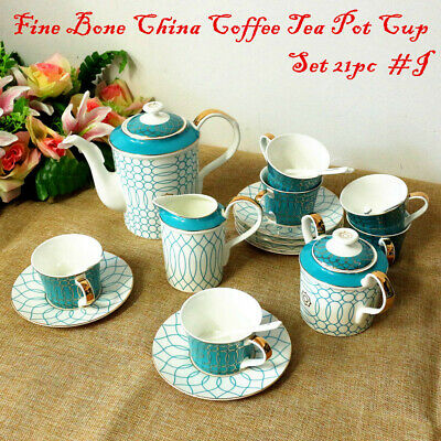 Fine Bone China Pottery Porcelain Elegant Ceramic 21pc Coffee Tea Pot Cup Set #A