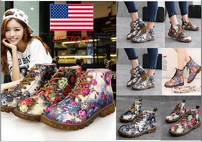 Womens Floral Lace Up Dr.Martens Retro Ankle Boots Casual Low Block Heel Shoes