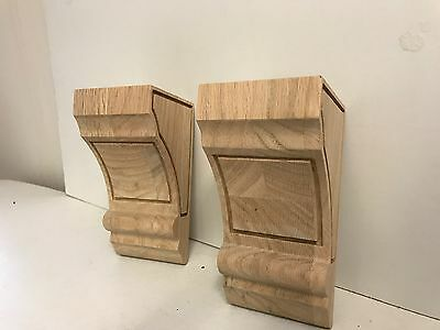 "Pair of 2, Wood Corbels,corbel Oak Wood, handcraft, 6"" x 3"" x 3"""
