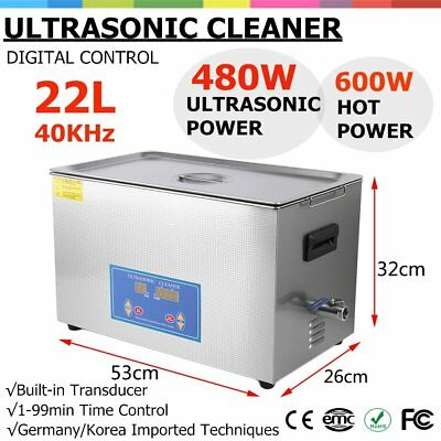 New Stainless Steel 22L Industry Heated Ultrasonic Cleaner Heater with Timer HM