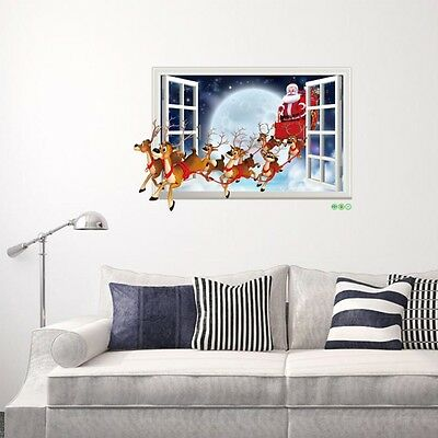 DIY Christmas Reindeer Mural Removable Wall Sticker Decal Home Shop Window Decor