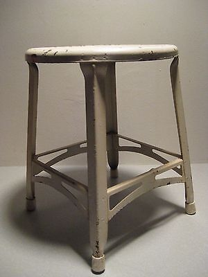 """Antique Vintage Metal Stool Four Leg 15 Inch Height 12"""" Width White See Pics!"""